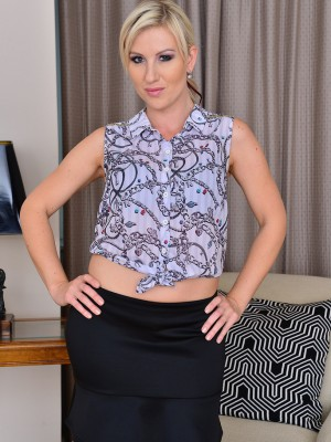 Gorgeous  Blond Haired Evey Kristal Appears Excellent the Removal of the Lady Ebony Skirt