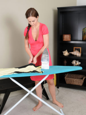 Splendid  Big Breasted Tina Kay Does Some Ironing then Shows Her Perfect Natural Boobs